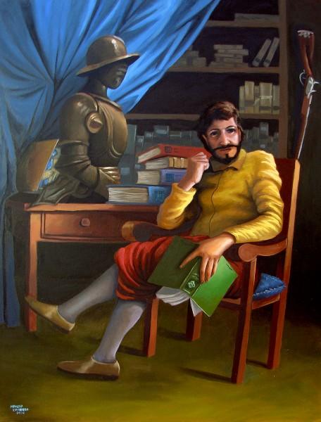Dom Quixote em sua biblioteca