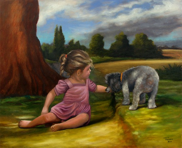 Menina com cão na paisagem - Segunda versão