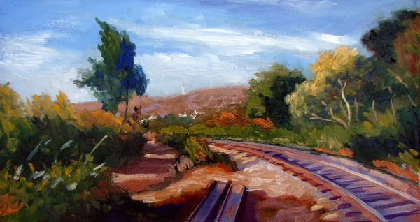 Paisagem com linha férrea