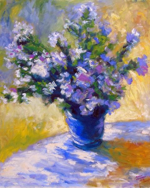 Releitura sobre vaso de flores de Monet