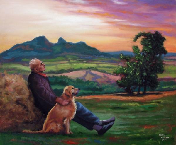 Homem com cão na paisagem