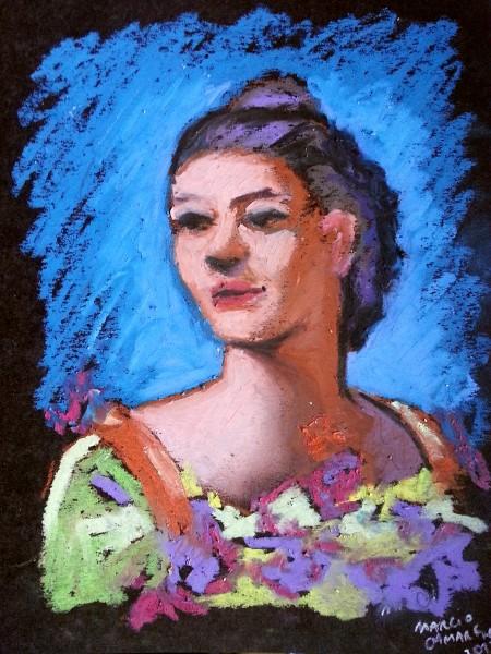 Mulher em azul e lilás