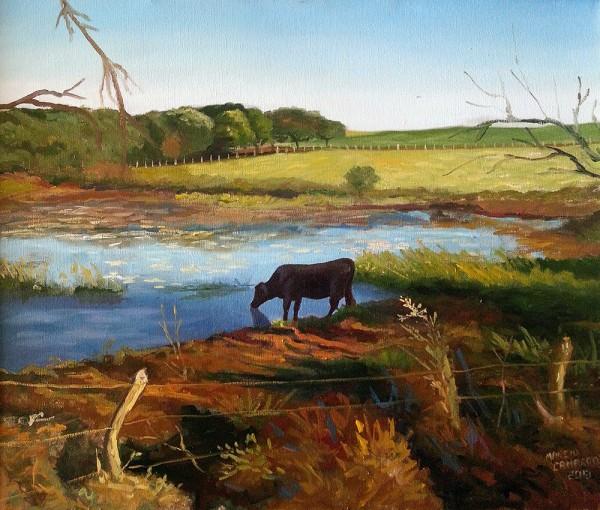 Paisagem com lago e vaca