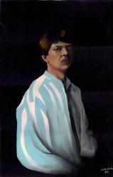 Auto-retrato em azul e branco