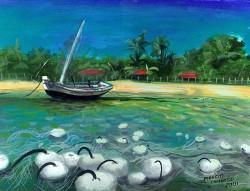 Barco Pesqueiro com Redes ao Mar