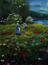 Campo com Flores e Camponesas