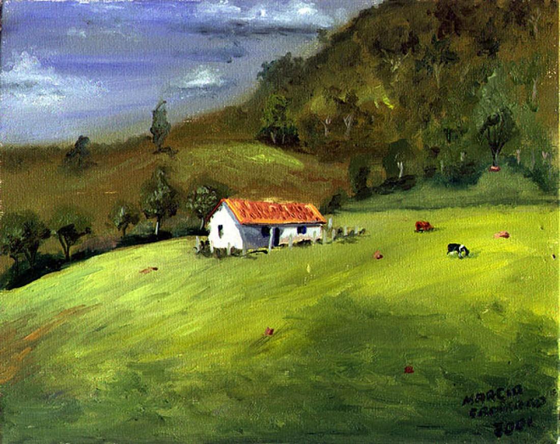 Fazenda de Paulo Couto - Óleo sobre tela - Paisagem ...