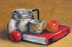 Leiteira com livros e frutas - ocre