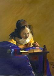 Menina Bordando - releitura Vermeer