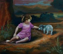 Menina com cão na paisagem