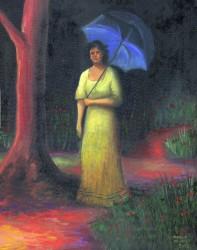 Mulher com guarda-sol azul