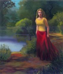 Mulher passeando a beira do lago