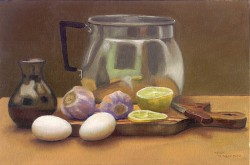 Natureza morta com ovos e limão