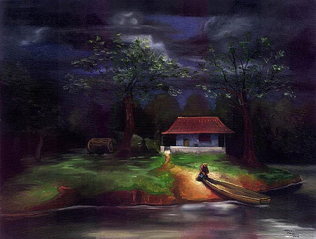 Paisagem de campo com canoa leo sobre tela paisagem for Pinterest obras de arte