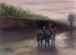 Paisagem de Rio com Cavalos