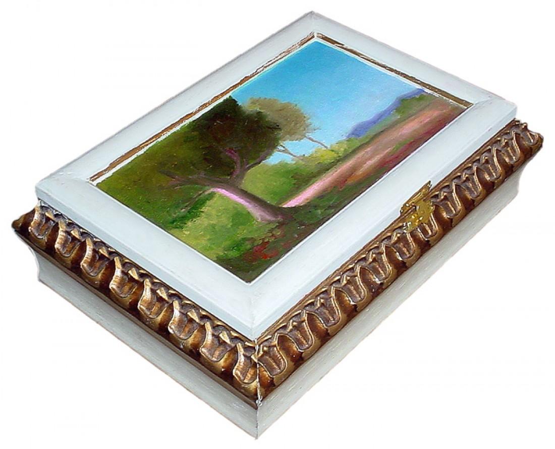 Paisagem Pintura em caixa de madeira Óleo sobre tela Natureza #2483A7 1100x889