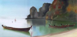 Praia com Canoas