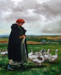 Releitura sobre Julien Dupré - Camponesa com patos