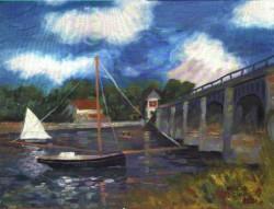 Releitura sobre Monet - Ponte e Barcos