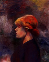 Retrato de Mulher Ruiva de Perfil