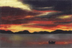 Sol nascente sobre rio com pescadores