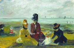 Três Senhoras com Criança na Praia