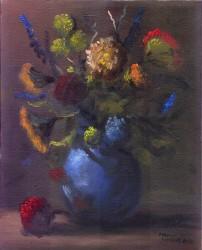 Vaso de Flores com Flor Vermelha Caída